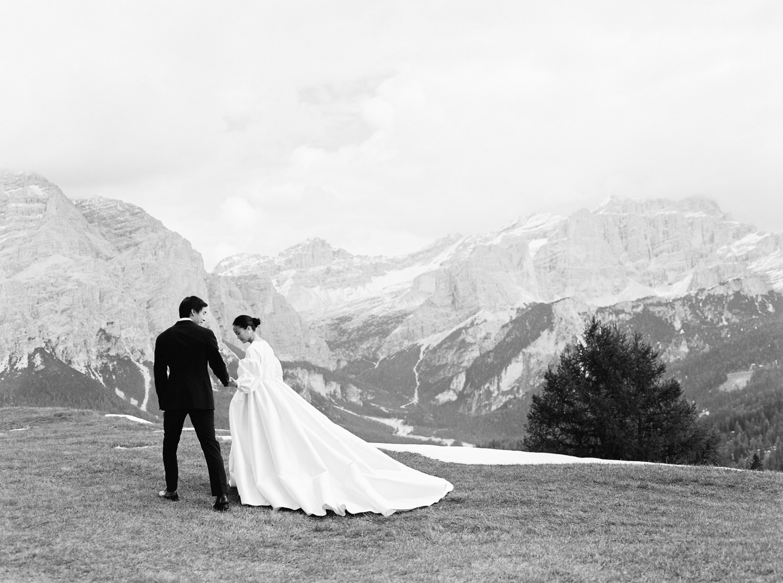 bride and groom portrait in the Italian Dolomites