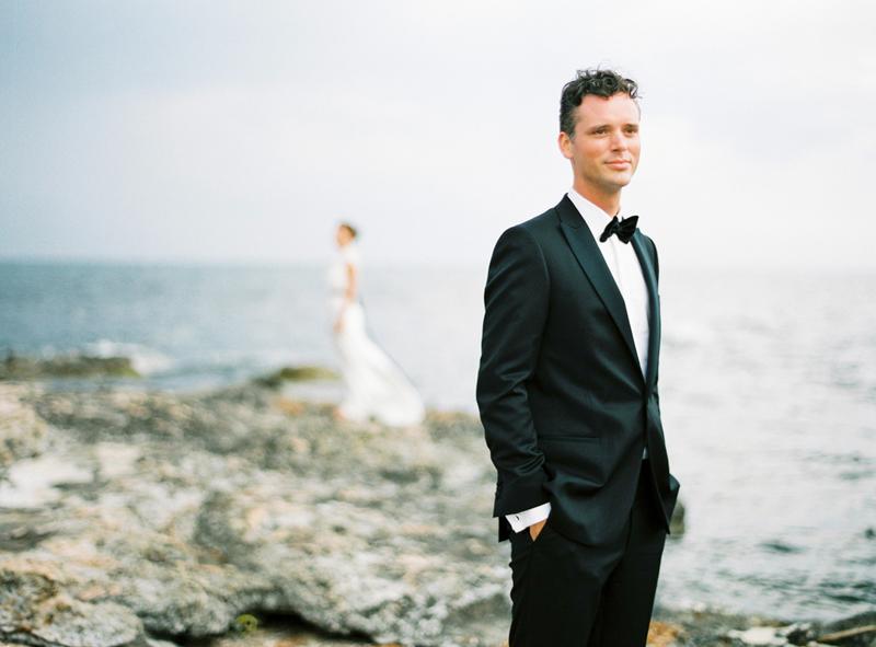 groom portrait on film