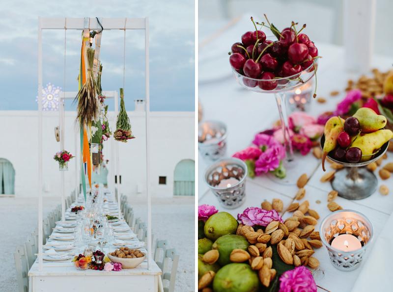 table setting for wedding dinner in masseria