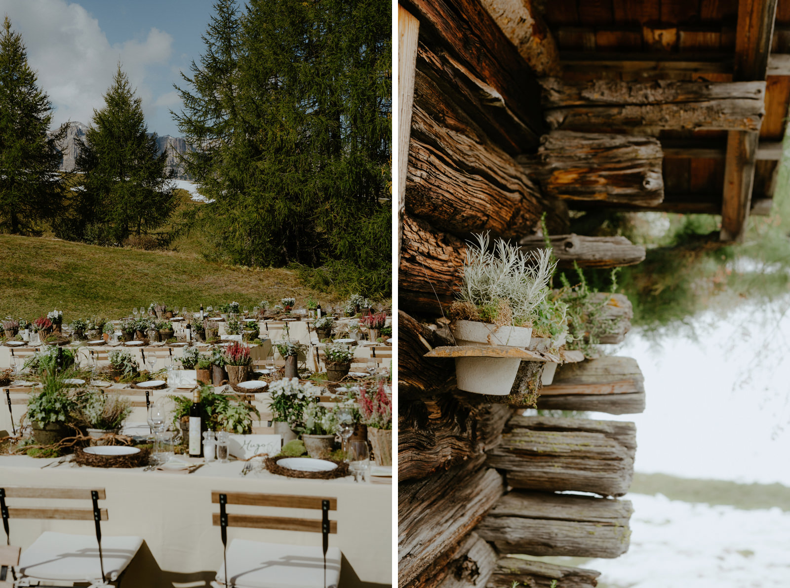 wedding reception in the Dolomites