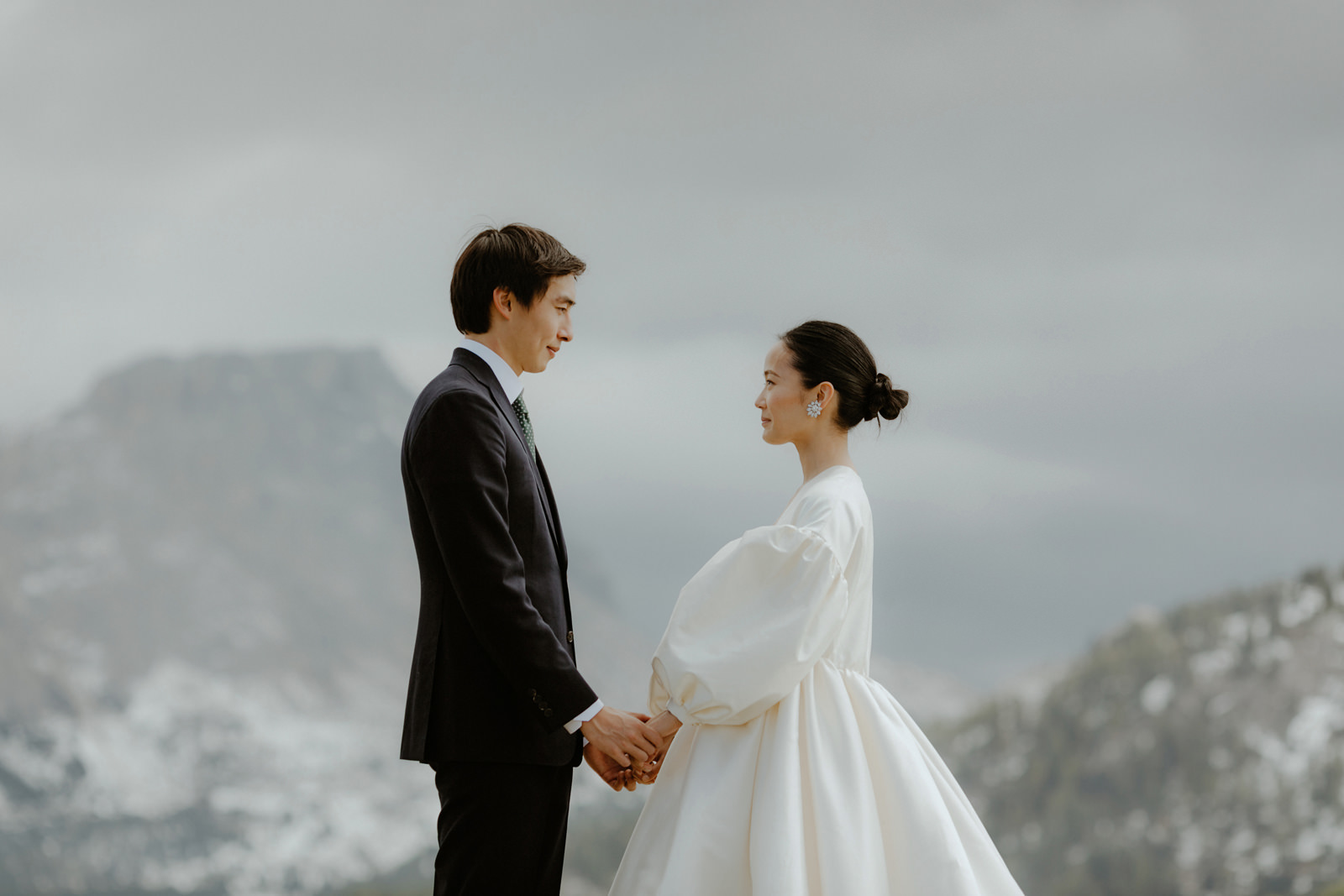 bride and groom portrait in the Dolomites