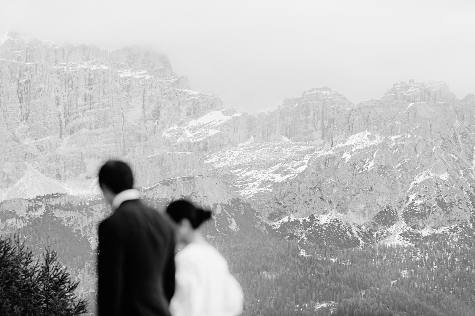 bride and groom portrait in the Italian Dolomites